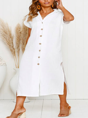 Button-Down Short Sleeve Slit Mid-Calf Dress - Popross