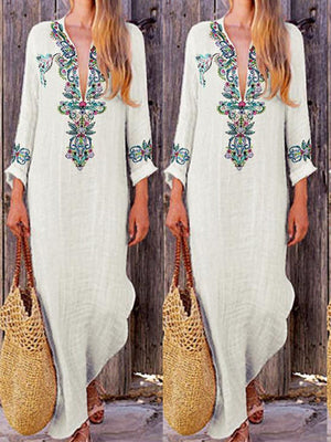 Linen/Cotton V Neck Print Long Sleeve Flok Style Maxi Dress - Popross