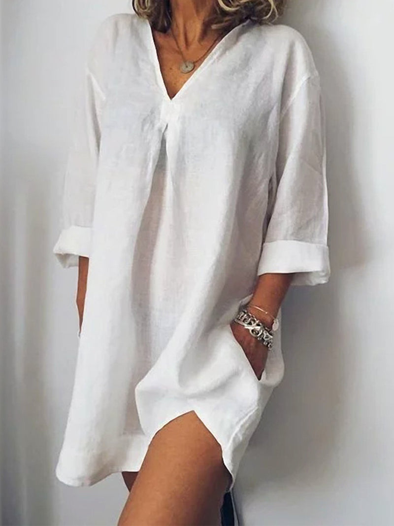 Loose V Neck Linen/Cotton Pocket Dress - Popross