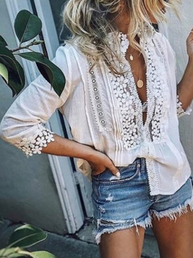 3/4 Sleeve V Neck Casual Cotton Lace Blouses - Popross