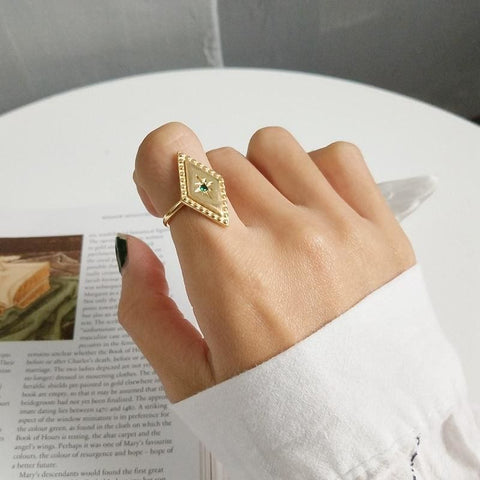 Big Geometric Gold Ring - Ring
