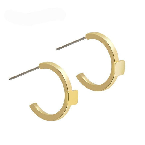 Gold Open Hoop Earrings - Gold - Earrings