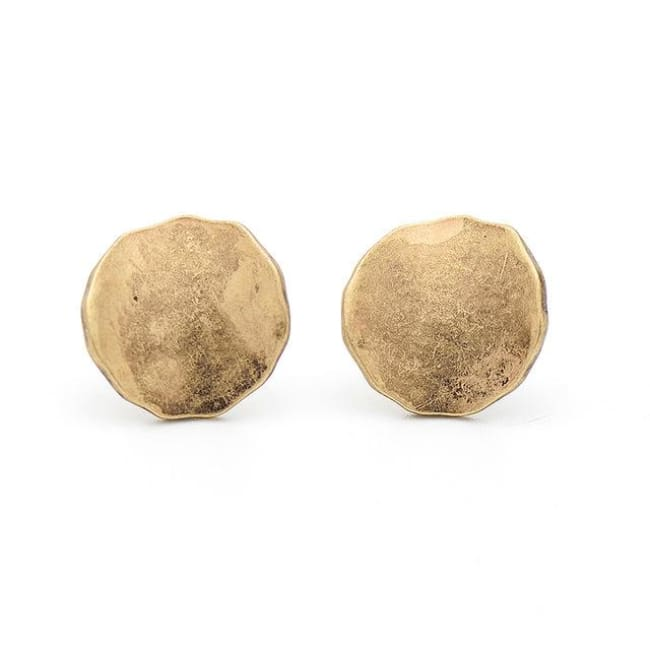 Hammered Gold Disc Earrings - Earrings
