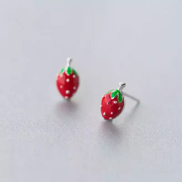 Strawberry Sterling Silver Earrings & Bag Gift Set