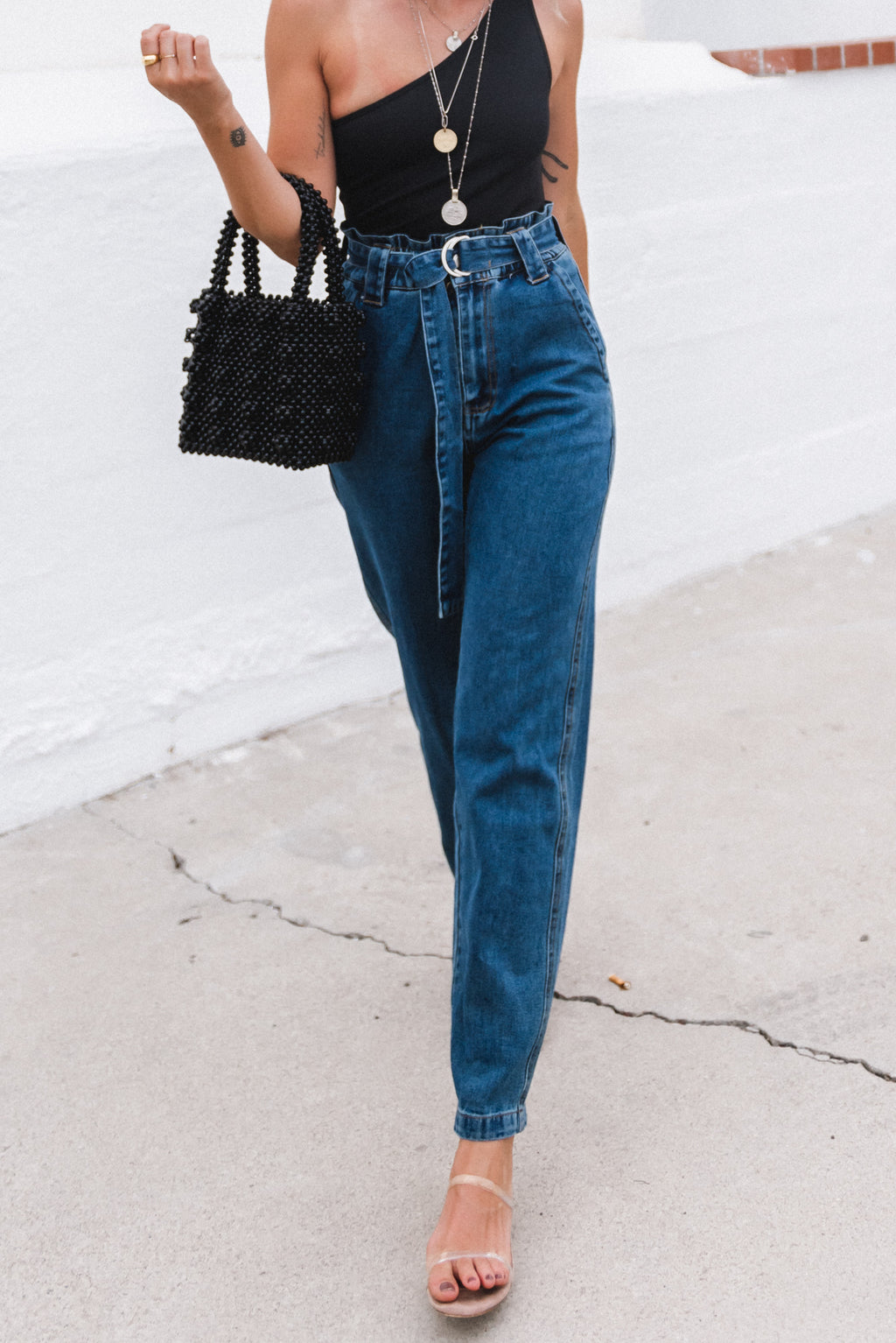 Paper Bag Denim Pants
