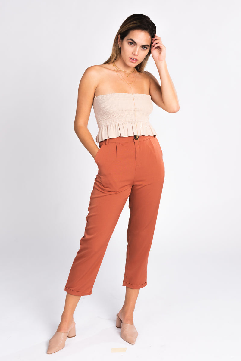suiting trouser, high waisted terra cotta tapered trouser, suiting trend, color trends, fall fashion trends 2018