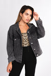 acid wash black denim jacket, oversized faded black jean jacket, button up denim jacket