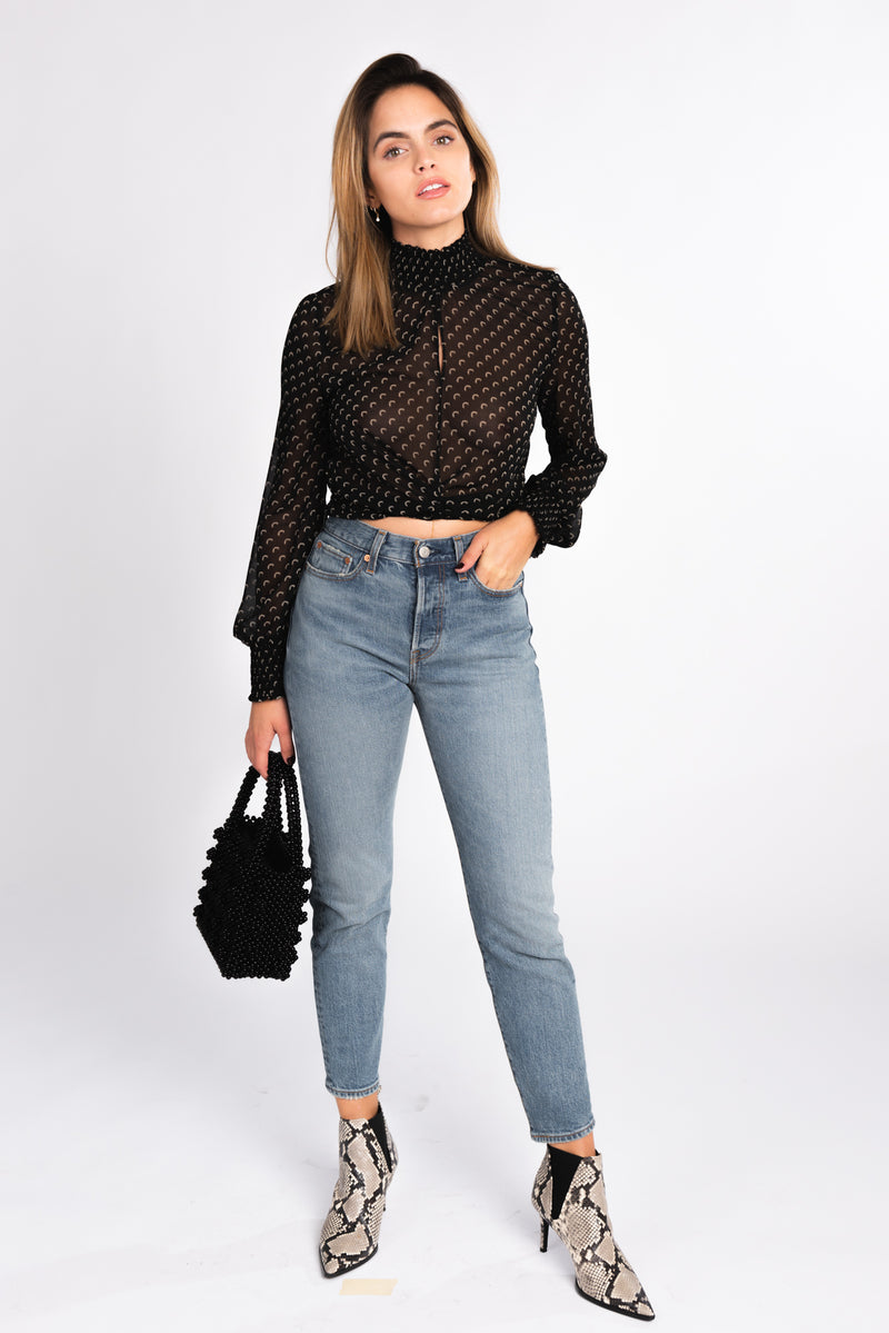 sheer printed tie blouse with front key hole cut out, pairs perfect with you favorite pair of denim and snakeskin booties