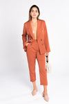 terra cotta double breasted blazer, classic blazer, suiting trend, wear to work, blazer as a shirt