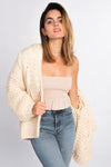 cream chunky knit open sweater with hood, cozy knits for fall, knit cardigan with exaggerated sleeves
