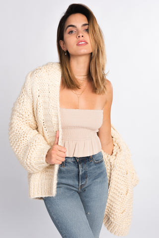 Smocked Ruffle Bottom Tube Top