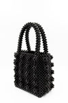black hand beaded bag, handbag trends, beaded handbag, structured bag