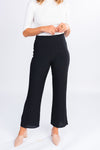 the perfect pant, black high waisted trouser, cropped trouser, flare trouser
