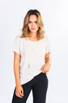 oversized distressed t-shirt, cream distressed tee, wardrobe basics