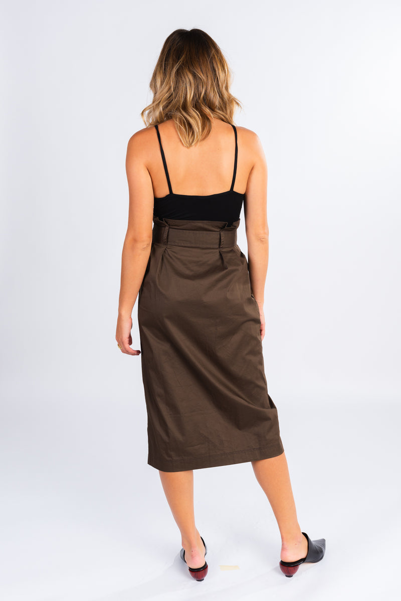 paper bag waist midi skirt, dark olive midi skirt, structured high waisted skirt, belted midi skirt with front slit, wear with a simple black body suit