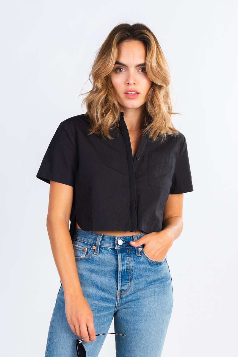 boxy cropped button down shirt, button up crop top, paired with your favorite denim, modern basics