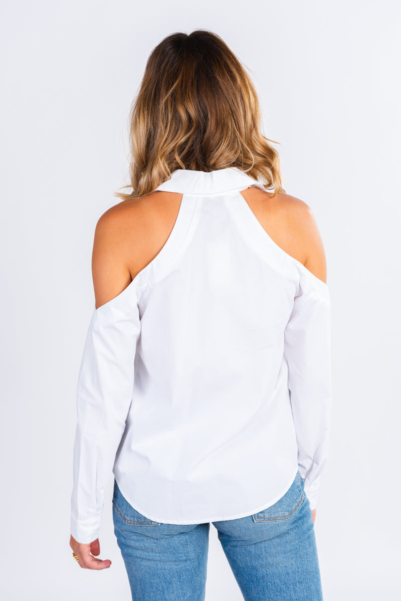 white button up with cold shoulder detail, modern basics, cold shoulder top, wardrobe essentials, white long sleeve button up
