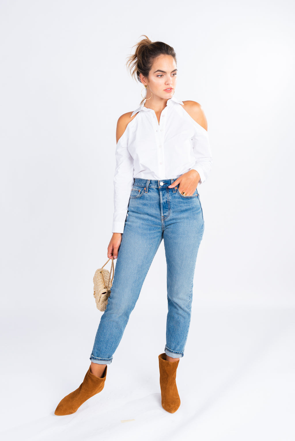 white button up with cold shoulder detail, modern basics, cold shoulder top, wardrobe essentials
