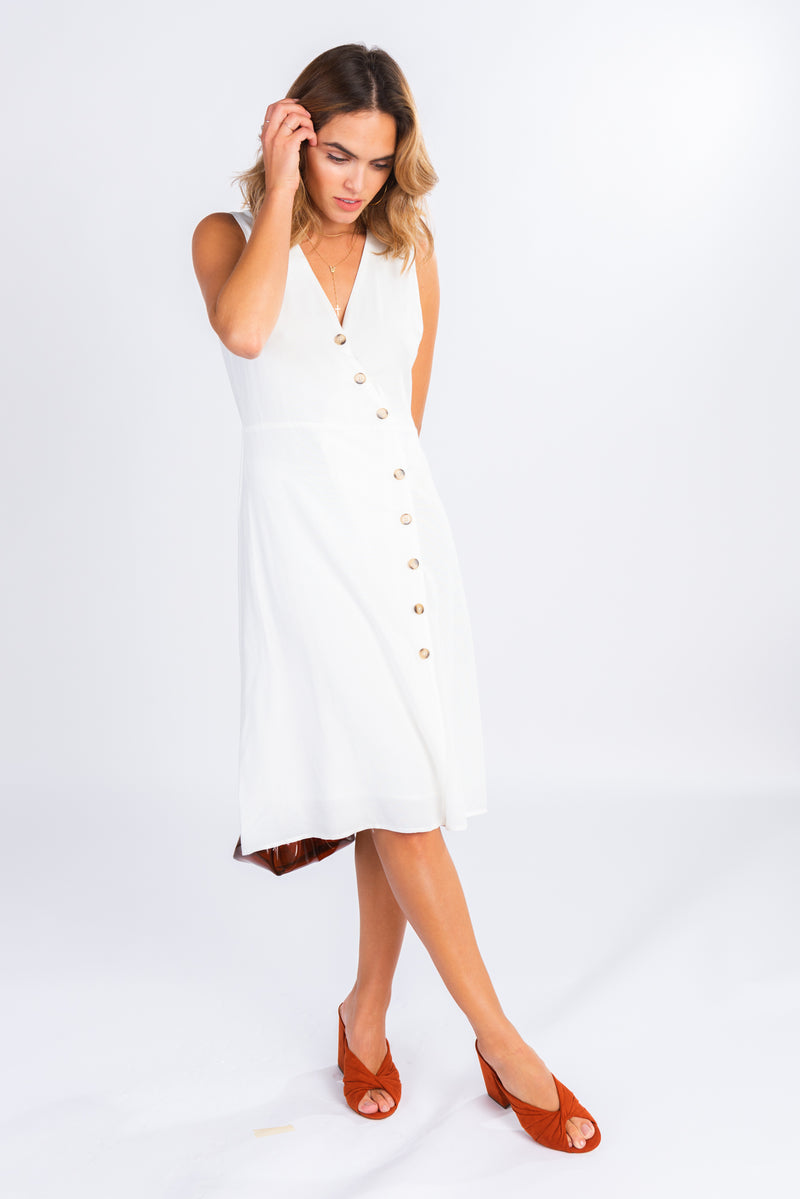 4440515bc51 little white dress, white button front midi dress, asymmetrical button  detailing, classic style