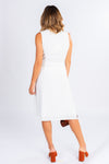 little white dress, white button front midi dress, asymmetrical button detailing, classic style