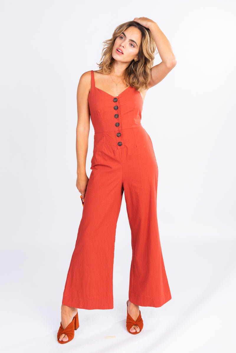 light rust button front jumpsuit, cropped wide leg jumpsuit, jumpsuits