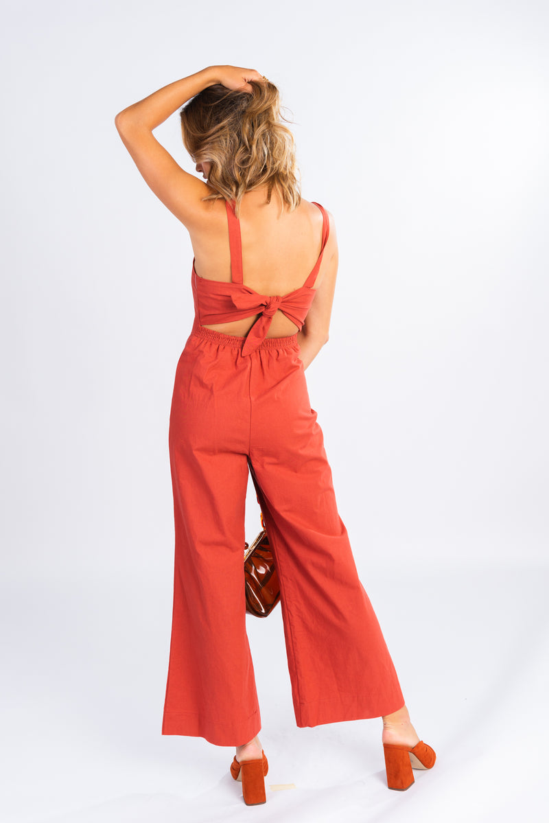 light rust button front jumpsuit, cropped wide leg jumpsuit, jumpsuits, tie back detail