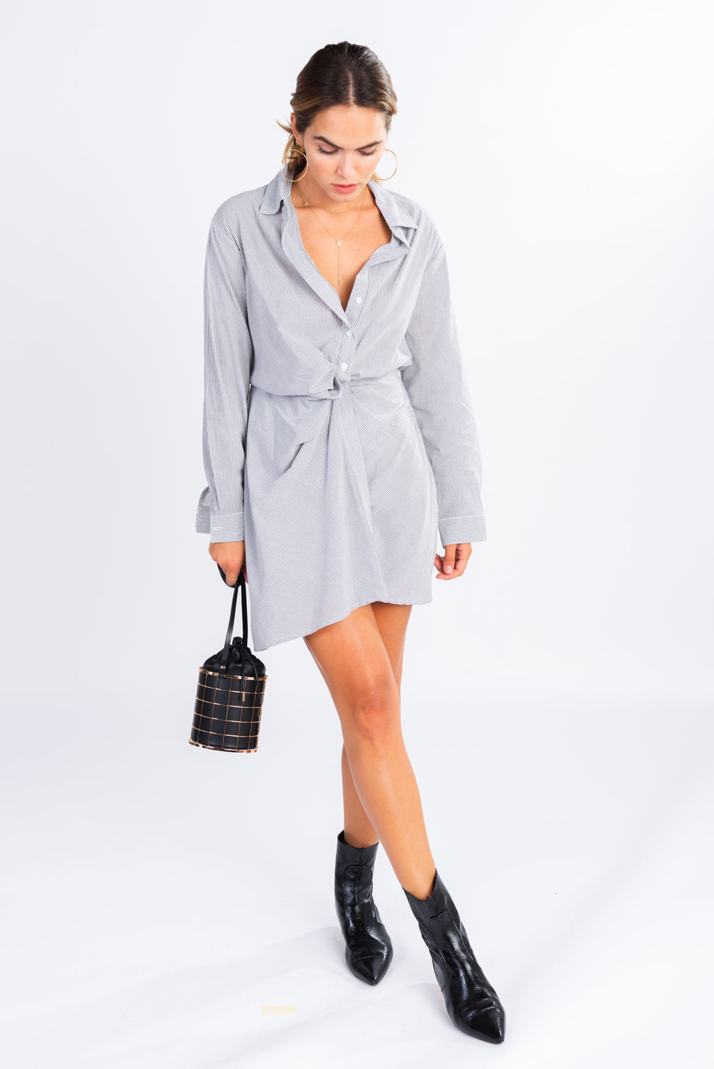 asymmetrical shirt dress, striped shirt dress, blue and white striped mini dress, ruched middle shirt dress
