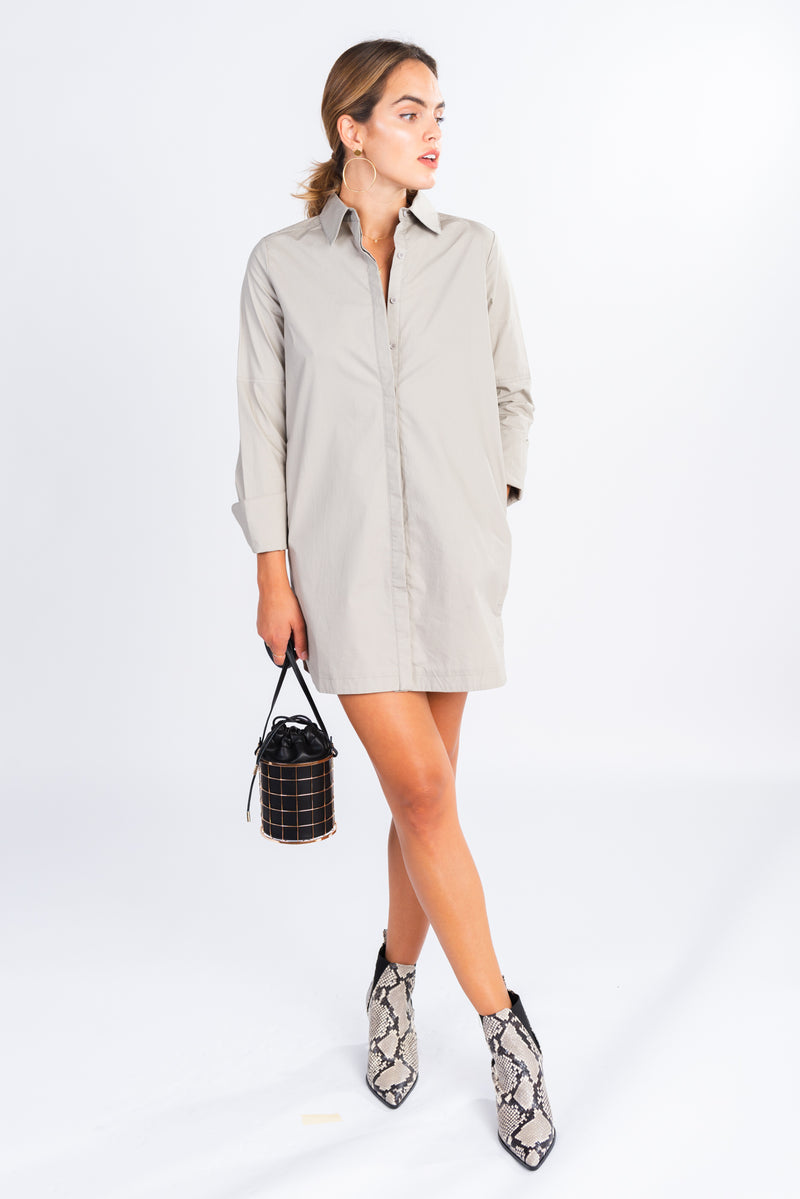 stone button up shirt dress, mini shirt dress, structured dress, dress and booties