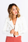 White moto jacket, winter white, silver zipper hardware, cropped white jacket