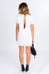 simple white shift dress, white mini dress, white dress with black accessories, keyhole back