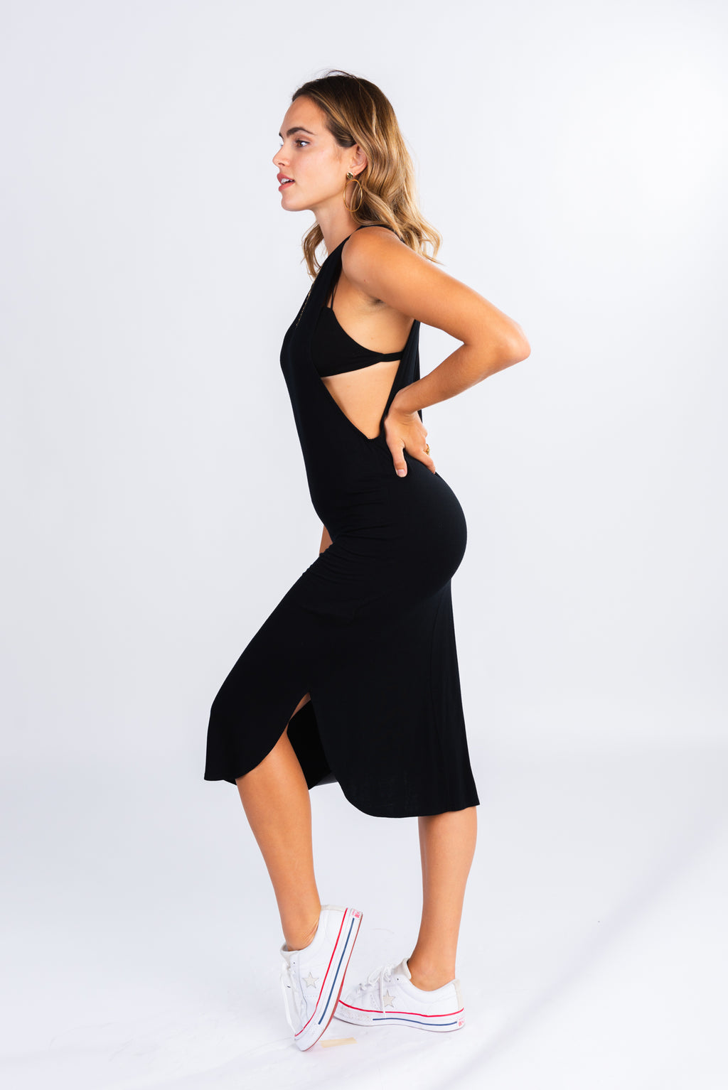 simple t-shirt midi dress, super soft tank midi dress, low side cutouts