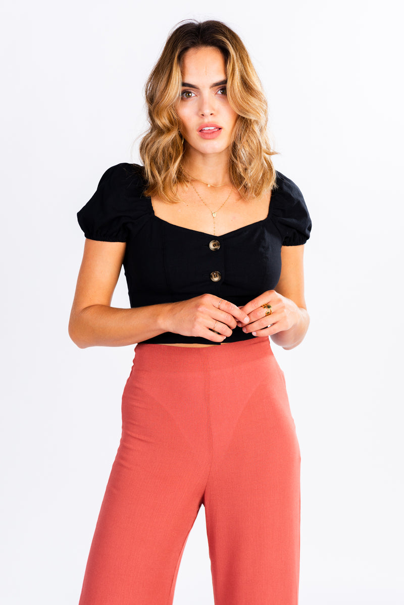 Button Front Off-the-Shoulder Top