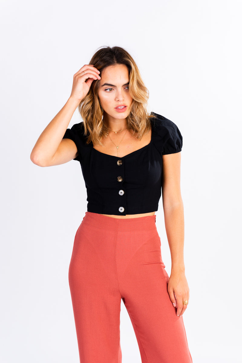 black off the shoulder button front crop top, off the shoulder top