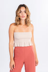 ruffle tube top, ruffle crop top, nude smocked cropped top, wardrobe basics, modern basics