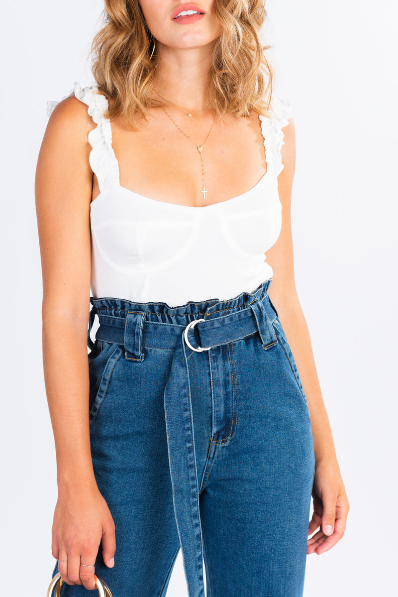 cropped ruffle strap cami, corset style white cropped top, modern basics