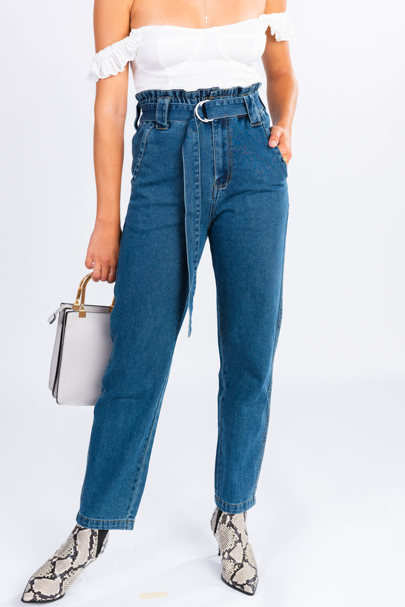 paper bag jeans, paper bag waist, trouser style denim, high waisted medium wash denim trousers