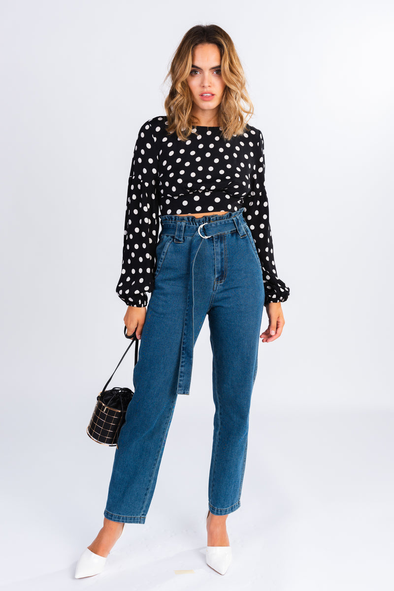 polka dot crop top, long sleeve black and white polka dot tie back blouse, exaggerated sleeve crop top, high neck blouse, pair with paper bag style jeans