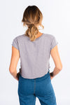 grey short sleeve sweat tee, cropped t-shirt, modern basics