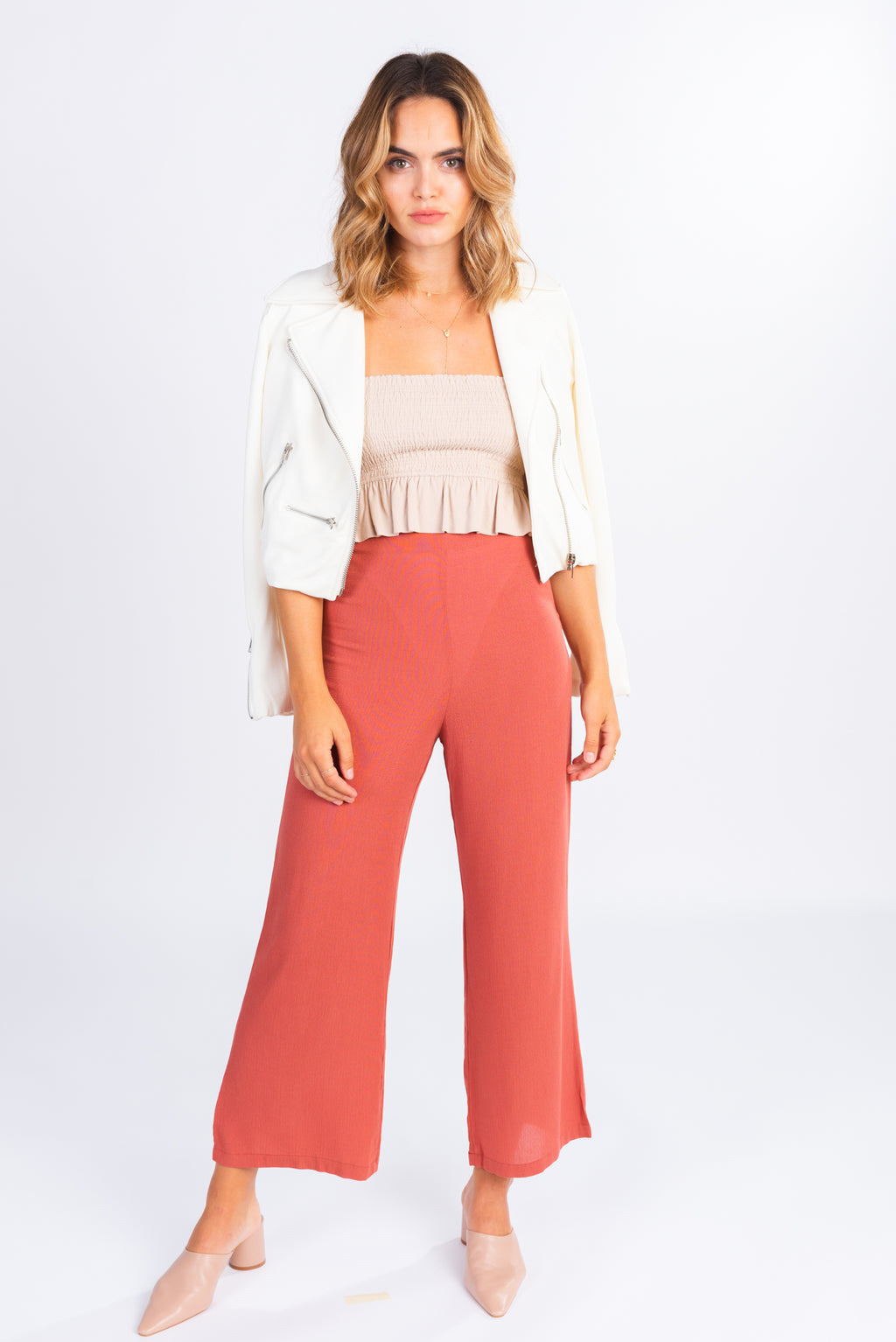 high waisted light rust trouser, flare cropped trouser, modern basics
