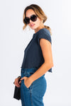 navy short sleeve sweat tee, cropped t-shirt, modern basics