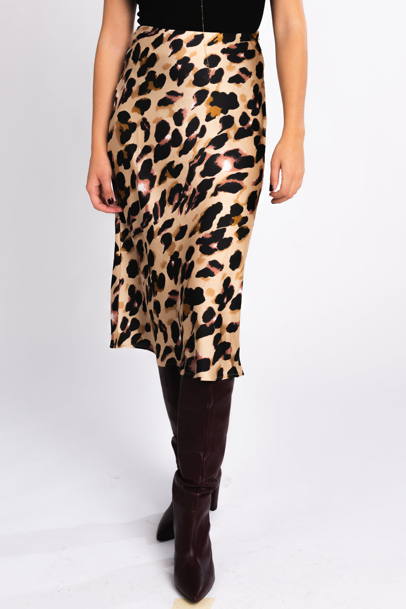 high waisted leopard print midi skirt, cheetah print skirt, statement skirt, fall fashion trends, fall outfit ideas, pair with burgundy knee high boots