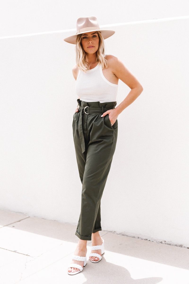 Pleated Sky High Rise Trouser