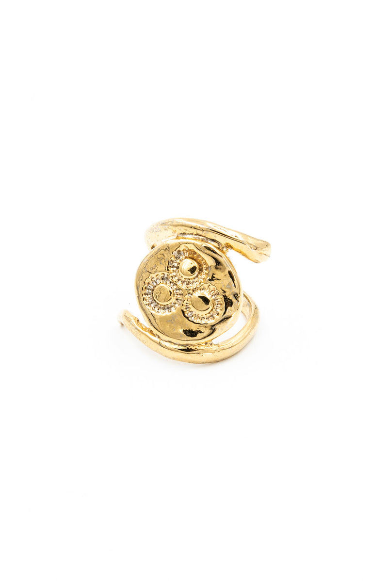serpent ring, snake and coin design, gold statement ring, coin ring with snake wrapped around it, neo relic, la weez jewelry