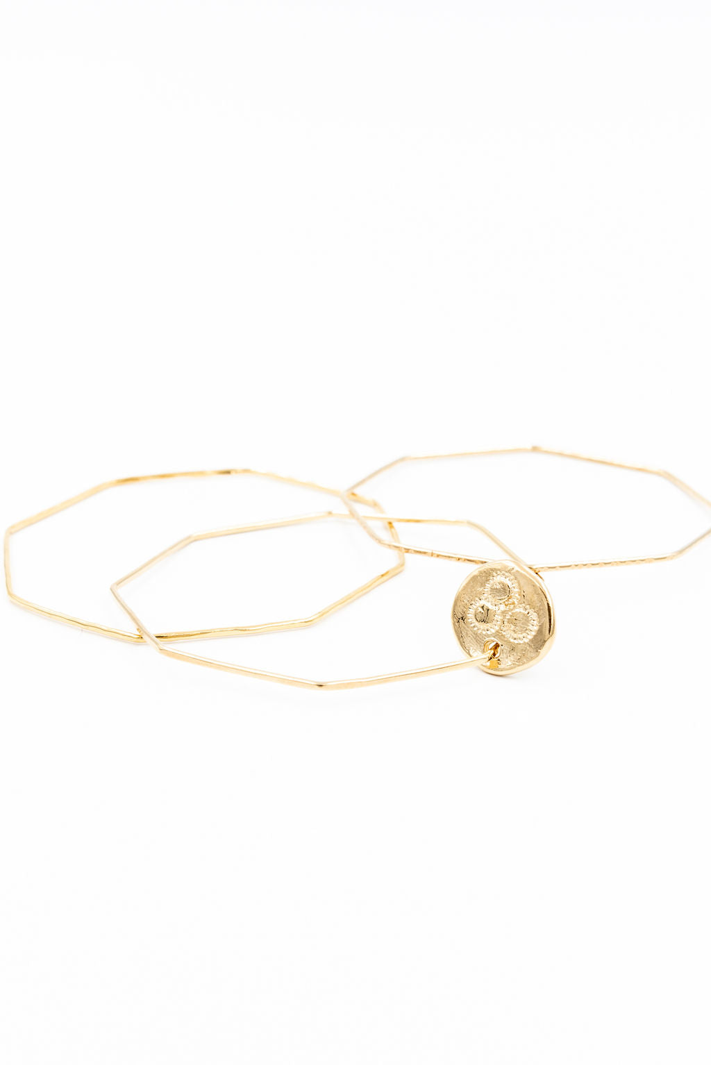 14k gold plated octagonal bangles, gold bangle bracelets, bangle charm bracelet, coin jewelry