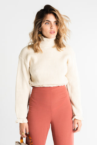 3/4 Mock Neck Knit Top