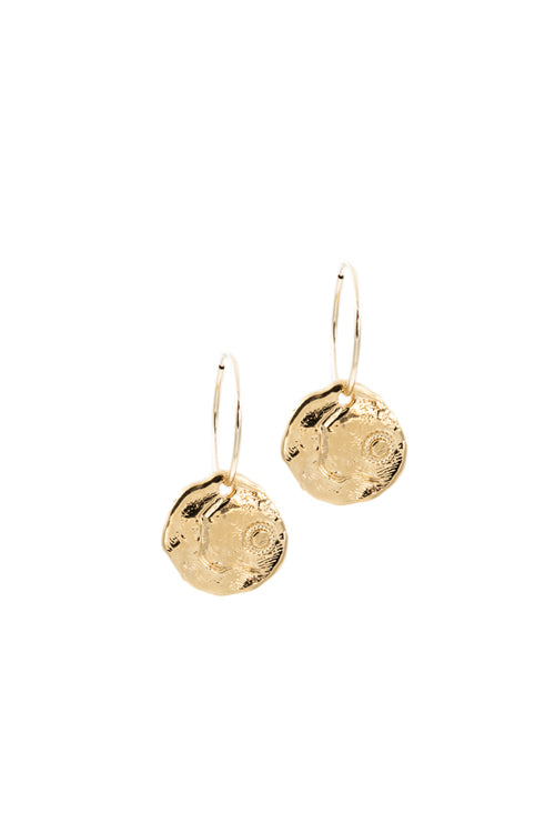 gold coin earrings, 14k gold hoop earrings, statement earrings, handmade jewelry, la weez jewelry, hoop earrings with coin charm, NeoRelic