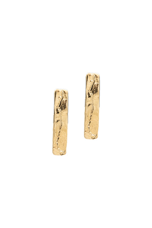 remnant studs, rectangular gold stud earrings, statement earrings, la weez jewelry, neo relic