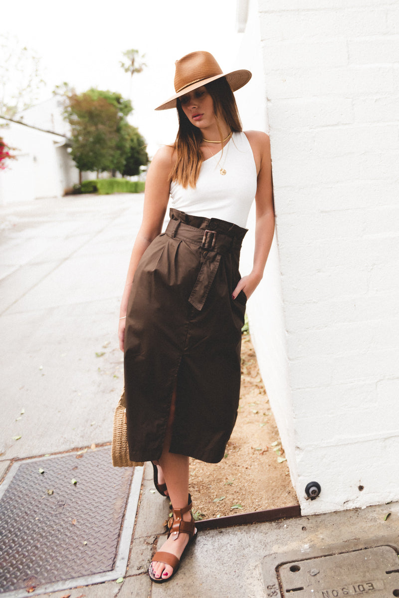 Belted High Rise Midi Skirt