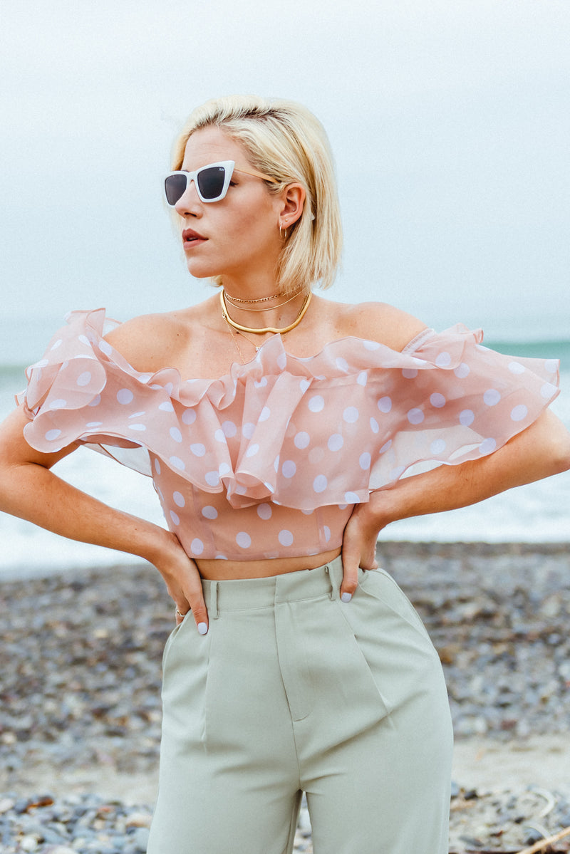 Statement Blouse, Off the Shoulder Ruffle Blouse, Polka Dot Blouse, Ruffle Crop Top