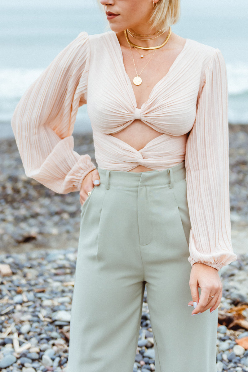Blush Blouse, Cut out blouse, Statement Sleeve Blouse,